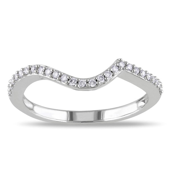annello 14k white gold 1 4ct tdw curved diamond wedding band ring h i