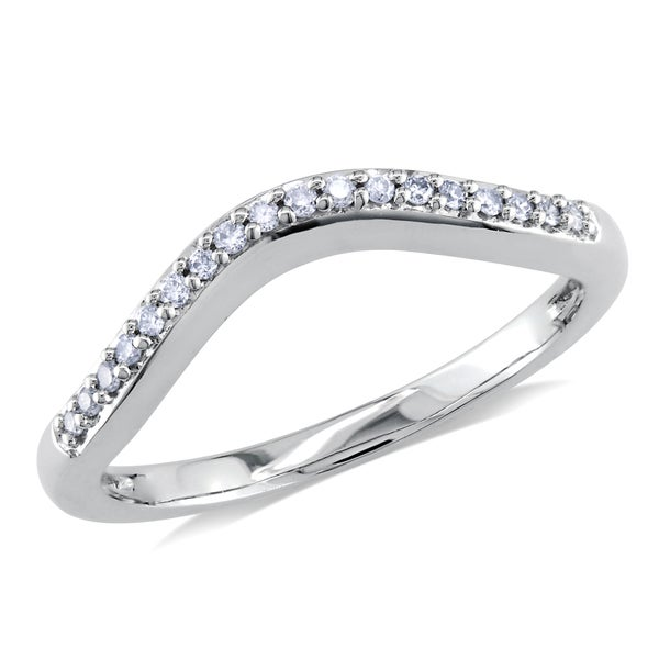 Miadora 14k White Gold 1/10ct TDW Diamond Curved Anniversary-style Stackable Wedding Band Ring (G-H, I1-I2)