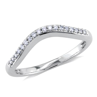 Miadora 14k White Gold 1/10ct TDW Diamond Curved Anniversary Ring (G-H, I1-I2)