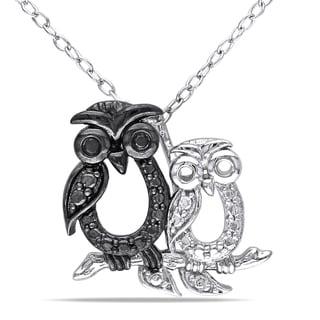 Miadora Sterling Silver Black Diamond Owls Necklace