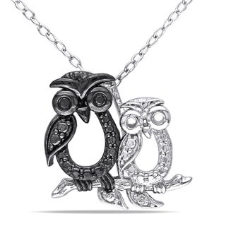 Haylee Jewels Sterling Silver Black Diamond Owl Necklace