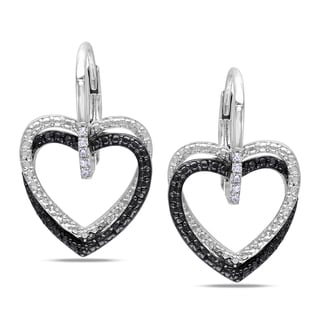 Miadora Sterling Silver Diamond Heart Earrings