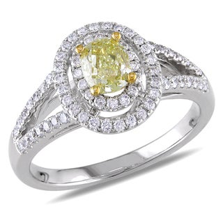 Miadora 14k Gold 1 1/6ct TDW Oval Cut Yellow and White Diamond Ring (VS1-VS2)