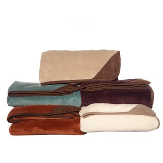 Eddie Bauer Plush Fleece Throw with Suede trim
