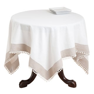 Ivory and Tan Pompom Bordred Table Topper