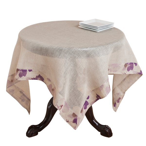 Natural Voile Printed Linen Table Topper