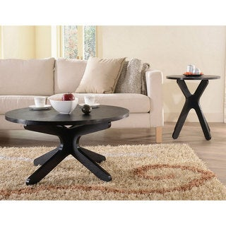 Furniture of America Contemporary Leeshan 2-PC Round Top Coffee and End Table Set, Black