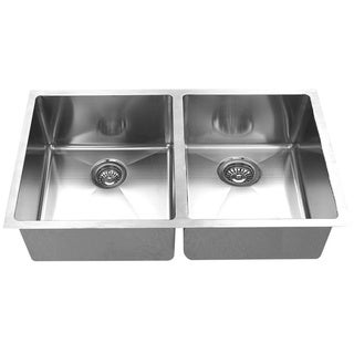BOANN Handmade Double Bowl Undermount 304 Silver Stainless Steel Kitchen Sink
