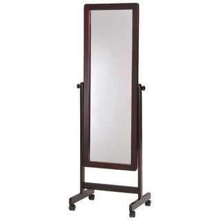 Dark Walnut Wooden Cheval Floor Mirror