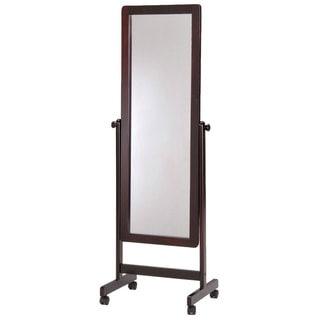 Dark Walnut Wooden Cheval Floor Mirror