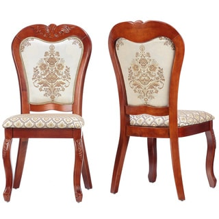 Cortesi Home Queen Anne Dining Chair in White Gold Fabric (Set of 2)