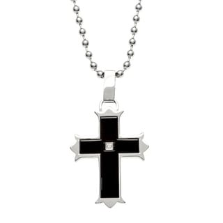 Scott Harris Stainless Steel Men's Diamond Accent Cross Necklace