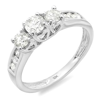 10k White Gold 1/3ct TDW Round Diamond 3-stone Engagement Ring