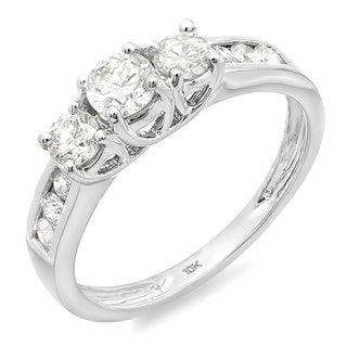 10k White Gold 1/3ct TDW Round Diamond 3-stone Engagement Ring