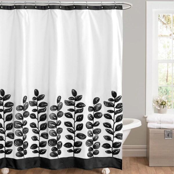 Lush Decor Vineyard Allure Black/ White Shower Curtain - 15565758 ...