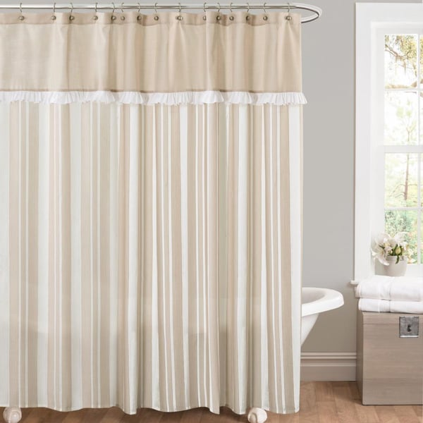 Lush Decor Rowan Taupe Striped And Pieced Shower Curtain