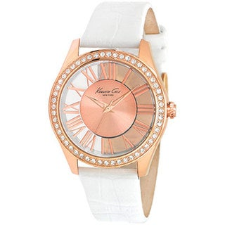 Kenneth Cole Women's Newness KC2728 White Calf Skin Quartz Watch with Rose-Gold Dial