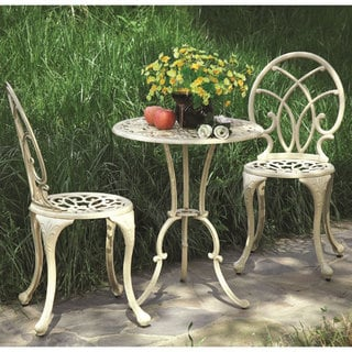 'Laguna' 3-piece Antiqued White Aluminum Bistro Set