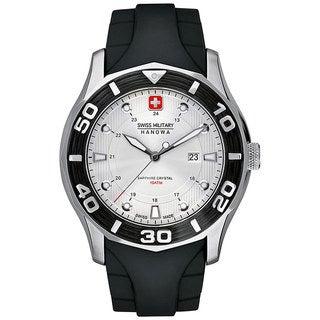 Swiss Military Hanowa Men's Oceanic 06-4170-04-001-07 Black Rubber Swiss Quartz Watch with Silver Dial