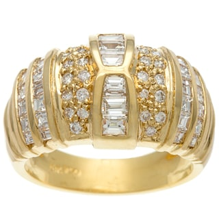 18k Yellow Gold Emerald and Round cut Diamond Dome Ring