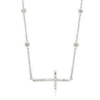 Molly and Emma Sterling Silver Diamond Accent Sideways Cross Necklace