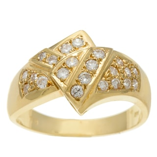 18k Yellow Gold Vintage White Diamond Bypass Ring