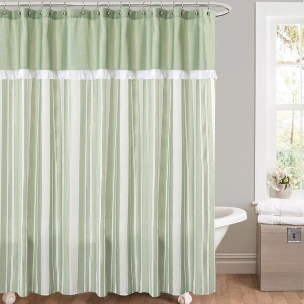 Rowan Green Striped And Pieced Shower Curtain