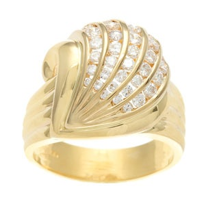 18k Yellow Gold 3/4ct TDW Channel-set Scallop Seashell Diamond Ring (G-H, SI1-SI2)