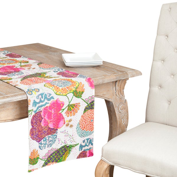 Bright Floral Printed Cotton Table Runner