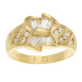 Kabella Luxe 18k Yellow Gold Vintage 3/5ct TDW Diamond Bow Ring (H-I, I2-I3)