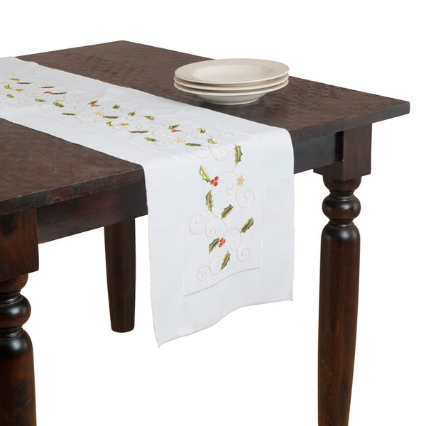 White Small Holly Embroidered Table Runner