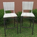 Barcelona Antique White Aluminum Resin Wicker Bar Stools (Set of 2)