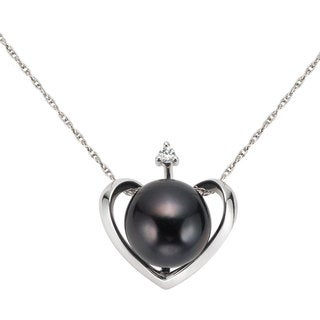 Pearlyta Silver Black FW Pearl and CZ Heart Necklace (9-9.5mm)