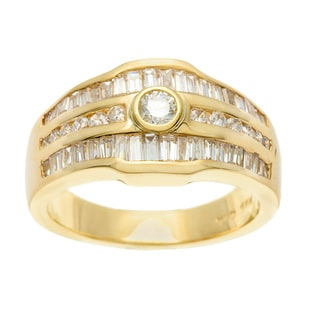 18k Yellow Gold Round and Taper Cut Baguette Bezel Diamond Ring