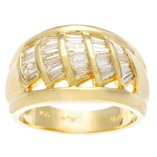 Kabella Luxe 18k Yellow Gold Vintage Tapered Baguette Cut Diamond Theatre Ring