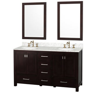 'Abingdon' Espresso 60-inch Double Sink Vanity and Mirrors Set