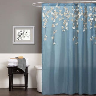 Lush Decor Flower Drops Federal Blue/ White Shower Curtain
