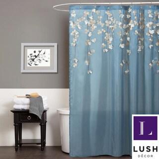 Lush Decor Flower Drops Federal Blue/ White Shower Curtain