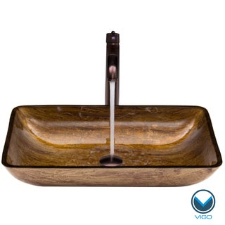 VIGO Rectangular Amber Sunset Glass Vessel Sink and Faucet Set in Oil Rubbed Bronze