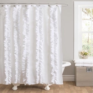 Lush Decor Belle White Ruffled Shower Curtain