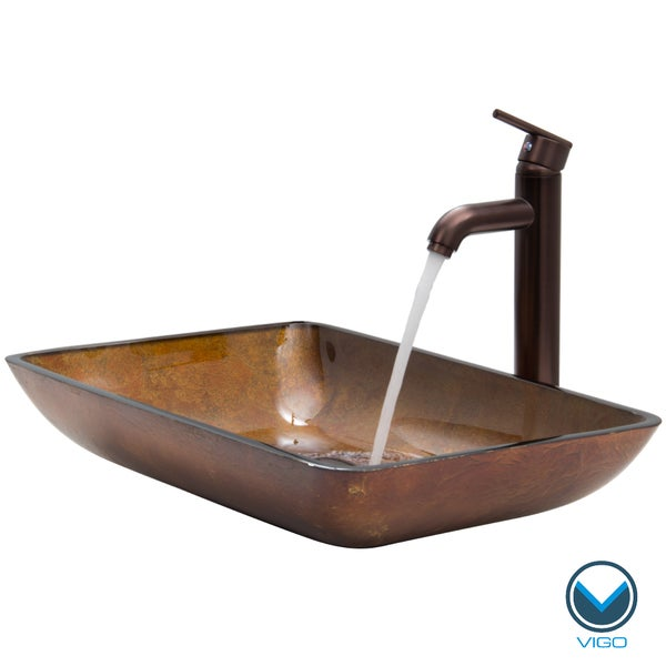 VIGO Rectangular Russet Glass Vessel Sink and Faucet Set in Oil Rubbed ...