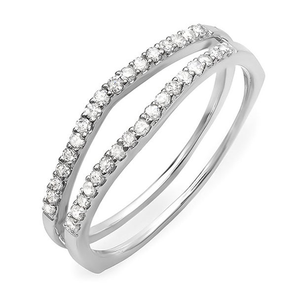 14k White Gold 1/4ct TDW Diamond Double Row Ring (H-I, I1-I2)