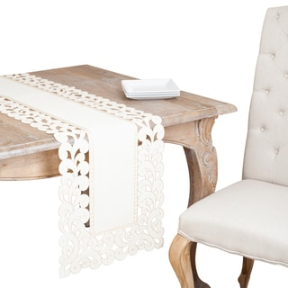 Oatmeal Cutwork Edges Table Runner