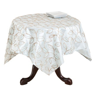 Embroidered Leaf Design Table Topper or Runner