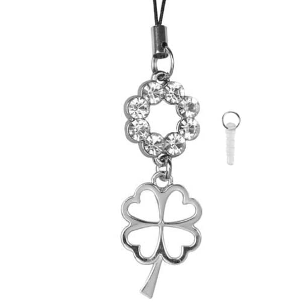 INSTEN Cellphone Charm TA3411 Metal Four Leaf Clover With White Crystal
