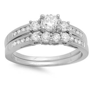 14k White Gold 1.15 ct TDW Round Diamond Bridal Set (H-I, I1-I2)