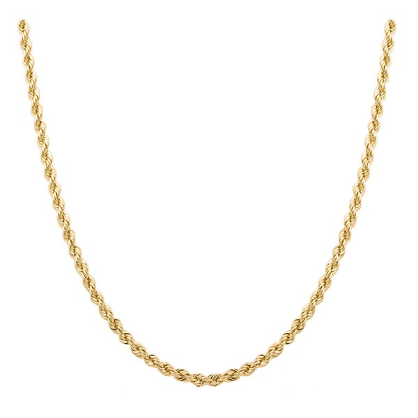 Sterling Essentials 14k Gold Overlay Italian Laser-cut Rope Chain