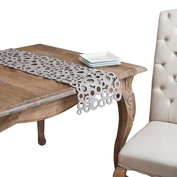 Grey Felt Geometric Cutwork Table Runner