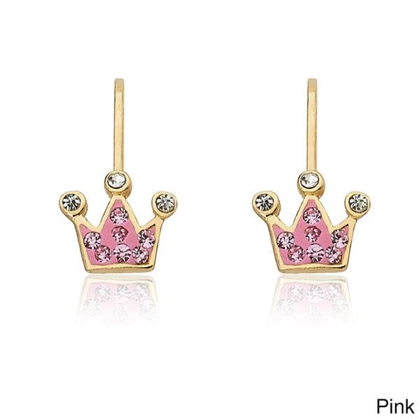 Molly Glitz 14k Goldplated Crystal Crown Earrings 11528090