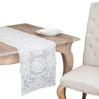 Ivory and Silver Rope Embroidered Table Runner